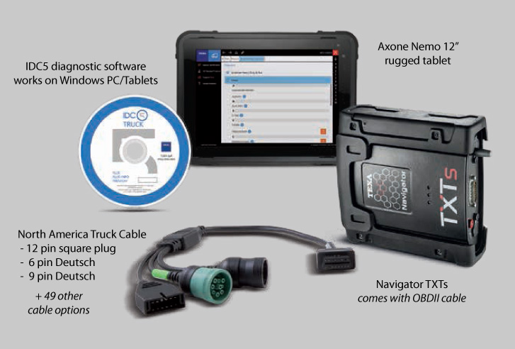 TEXA Kits consist of a tablet or laptop running diagnostic software, Navigator TXTs and cable options to suit your equipment.