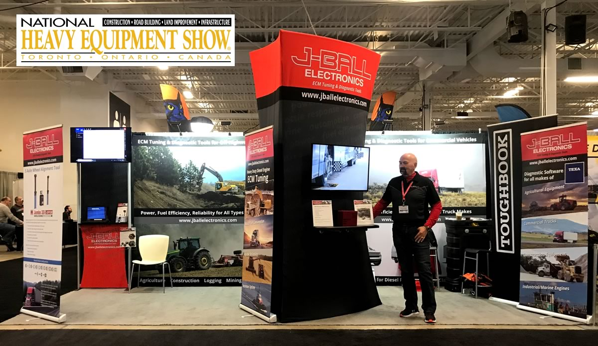 J-Ball Electronics booth at National Heavy Equipment Show in Mississauga Ontario March 2019.
