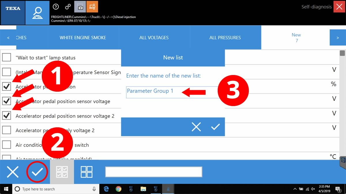 Select the Parameters to be displayed (1), click the checkmark at the bottom of the screen to save your Parameter Group (2), then name your group (3).
