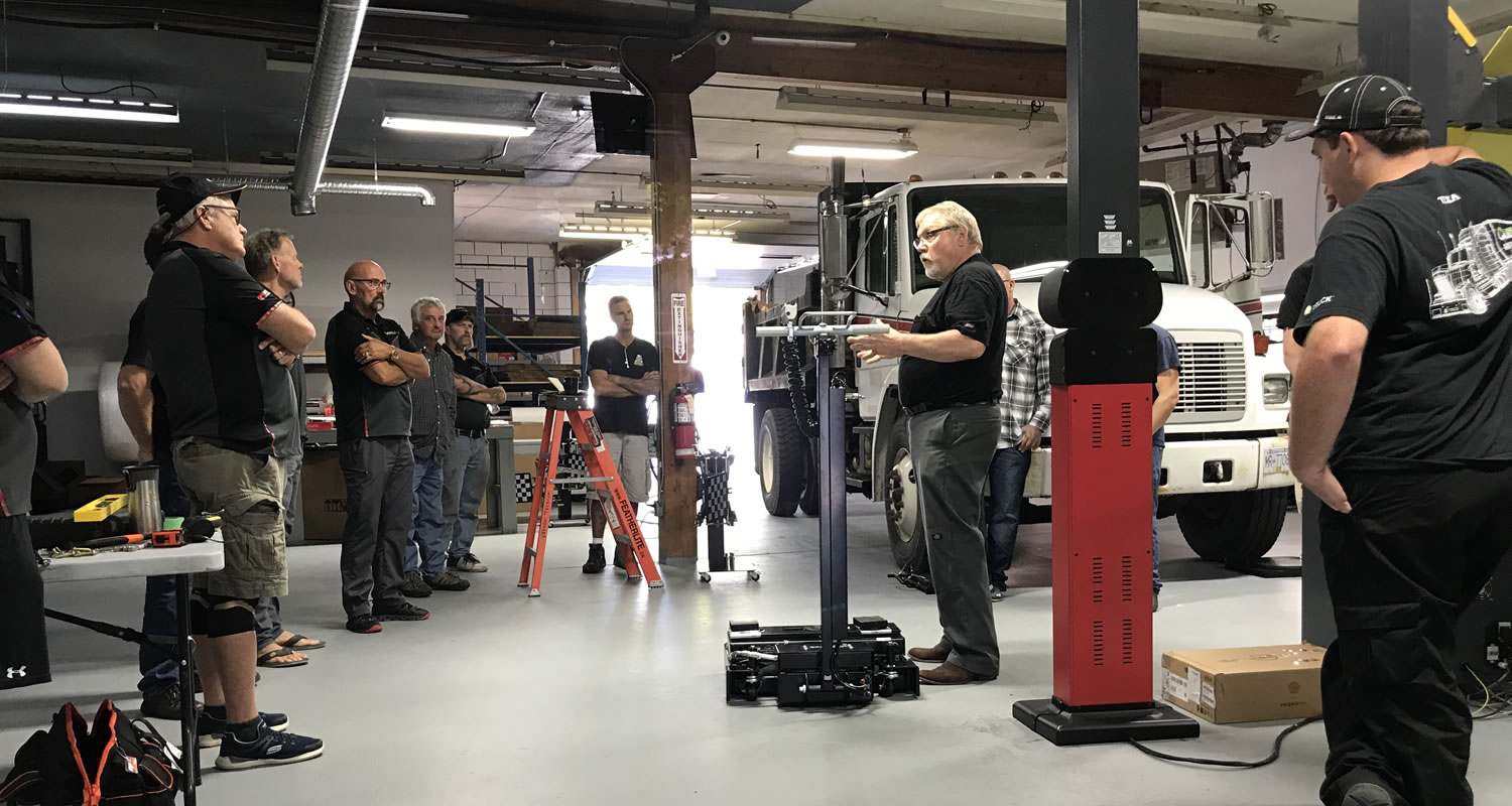 J-Ball Electronics Commercial Wheel Alignment Open House attendees were shown how accurate the Manatec system is and how quickly it is able to measure and align a truck up to 5 axles at once.