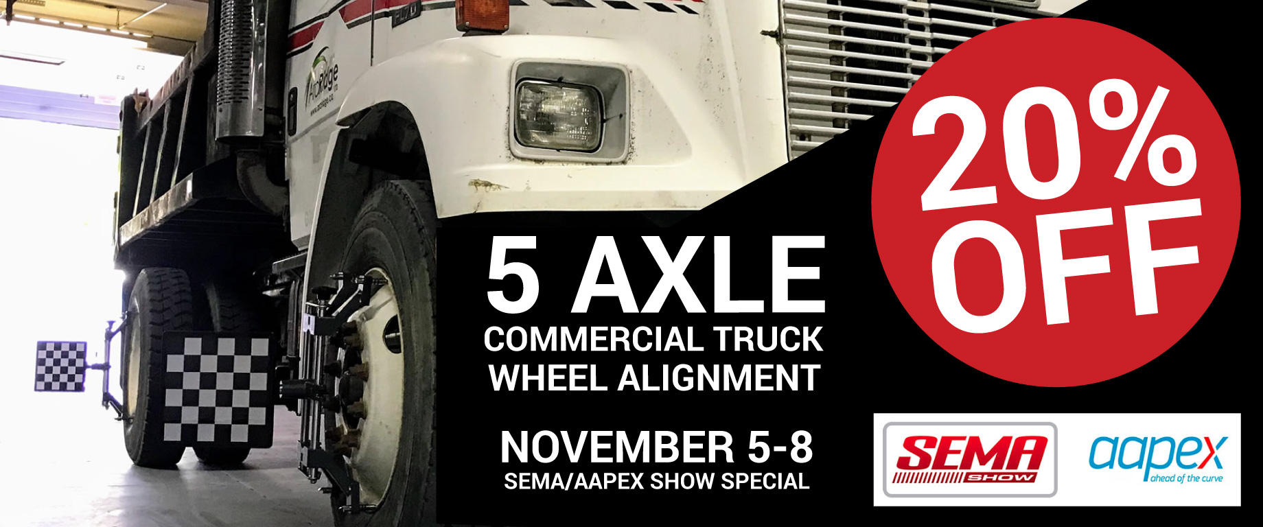 20% Off Manatec 5 Axle Commercial Truck Wheel Alignment System during SEMA/AAPEX 2019