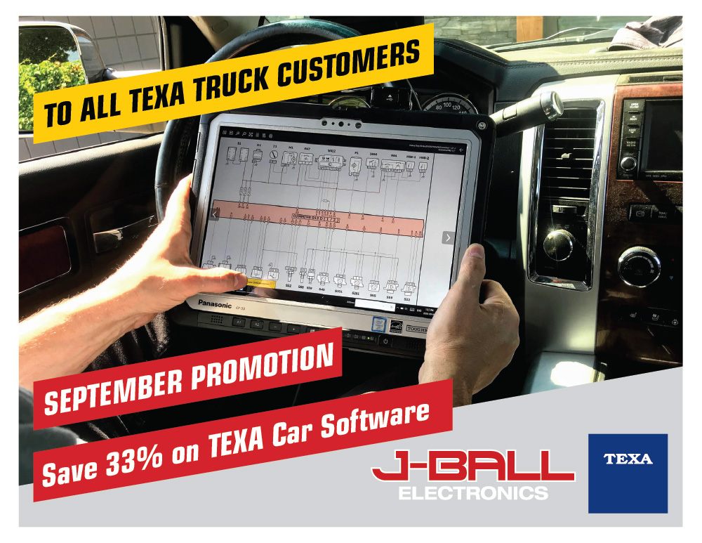All new and existing TEXA Truck customers can add TEXA Car for 33% off through September 2020. TEXA Car includes coverage for gasoline pickup trucks and all types of passenger cars.